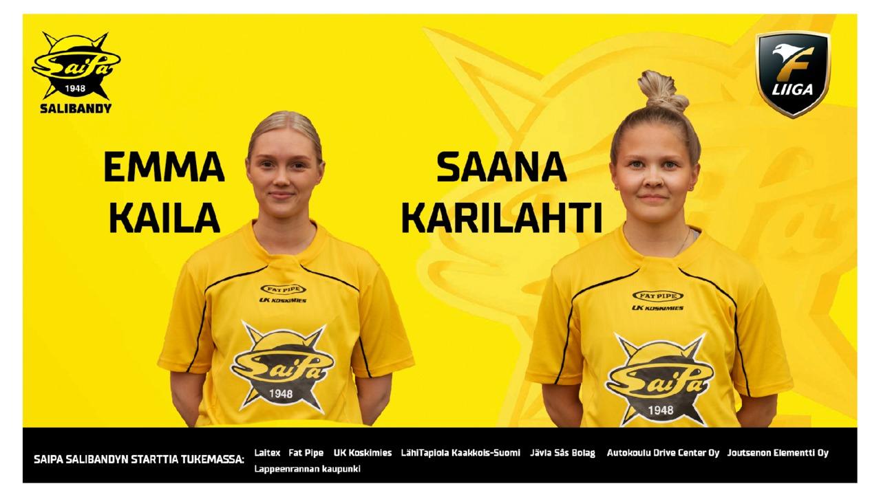 Emma Kaila ja Saana Karilahti SaiPa Salibandyn riveissä