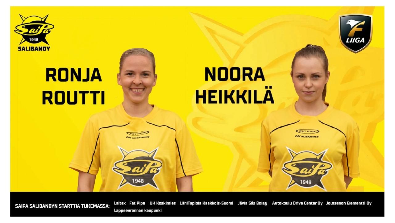 Noora Heikkilä ja Ronja Routti SaiPa-paitaan vuoden mittaisilla sopimuksilla