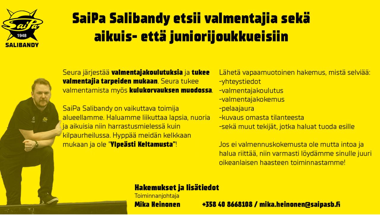SaiPa salibandy etsii valmentajia sekä aikuis- että juniorijoukkueisiin