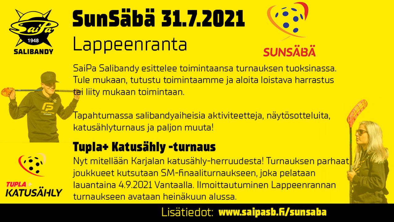 SunSäbä 31.7.2021 Lappeenranta – ILMOITA JOUKKUEESI KATUSÄHLYN SM-OSATURNAUKSEEN