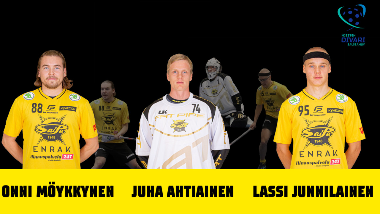 Onni Möykkynen, Juha Ahtiainen ja Lassi Junnilainen nähdään keltamustissa myös kaudella 2021-2022