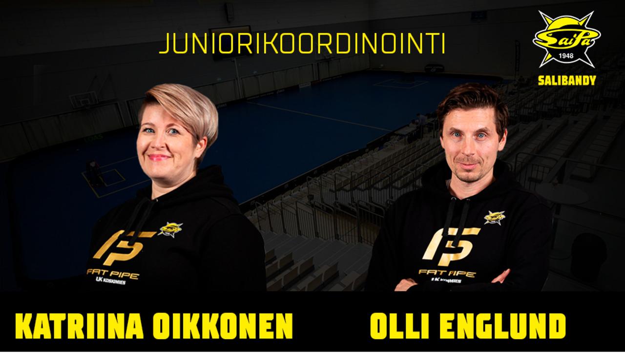 Katriina Oikkonen ja Olli Englund SaiPa Salibandyn juniorikoordinaattorit