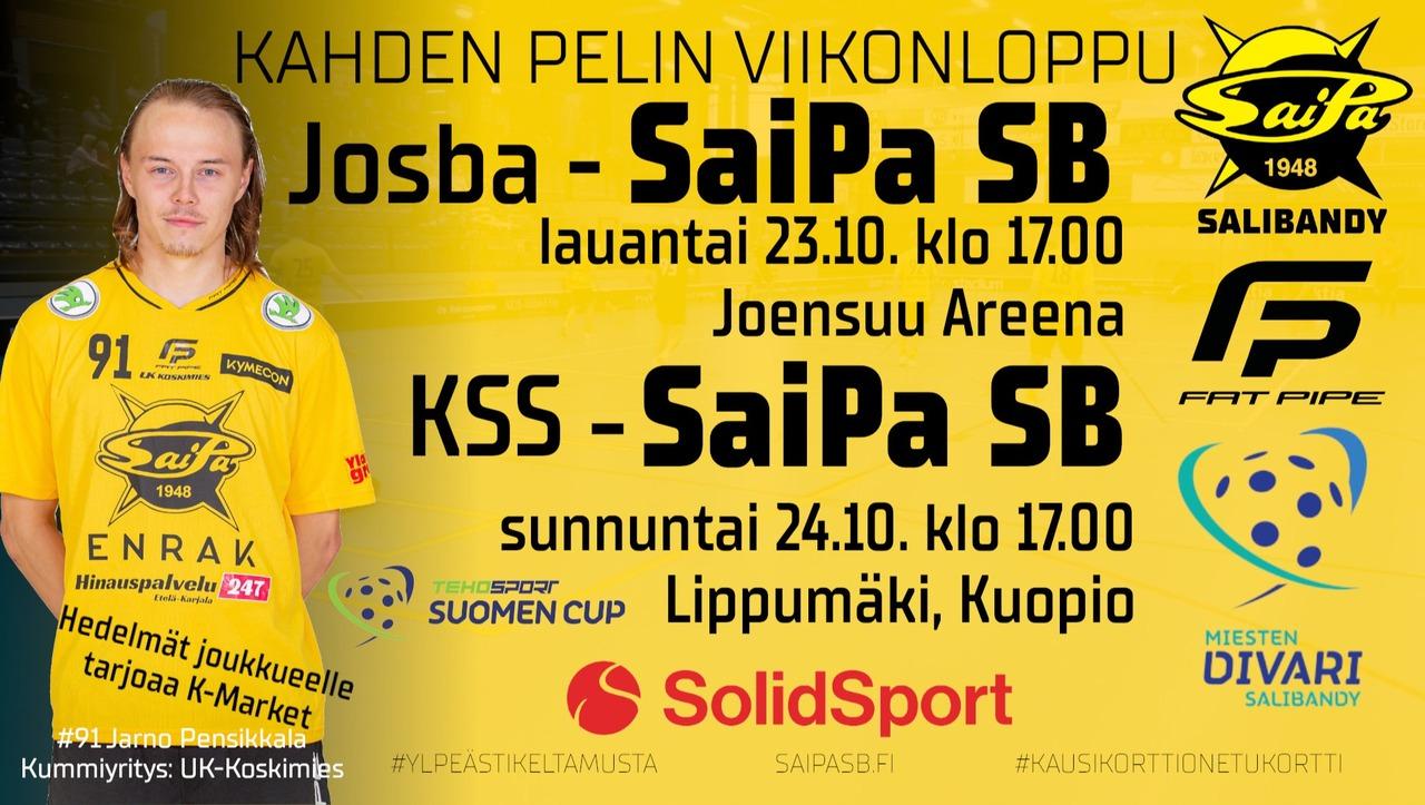 Miehillä kahden pelin viikonloppu #2. Lauantaina tappio Josbaa vastaan. Sunnuntaina Kuopiossa kaatui CUP-pelissä KSS.